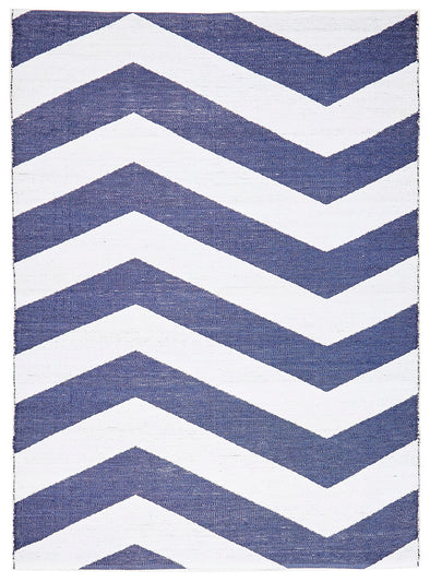Coastal Indoor Out door Rug Chevron Navy White