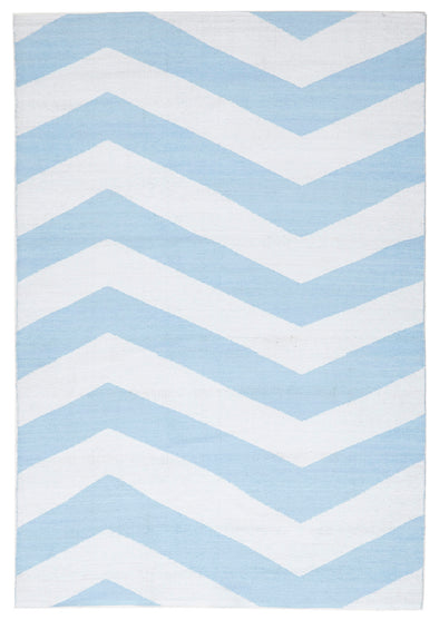 Coastal Indoor Out door Rug Chevron Sky Blue White - Fantastic Rugs