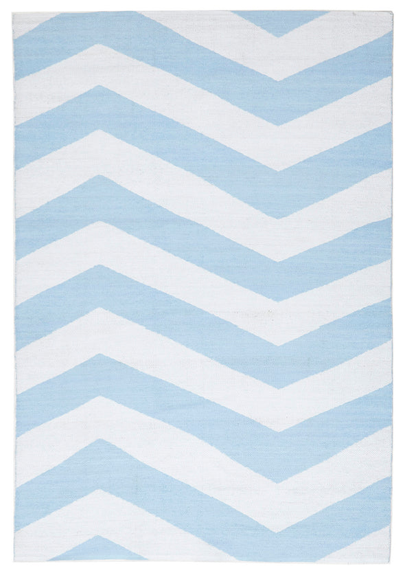 Coastal Indoor Out door Rug Chevron Sky Blue White