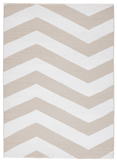 Coastal Indoor Out door Rug Chevron Taupe White - Fantastic Rugs