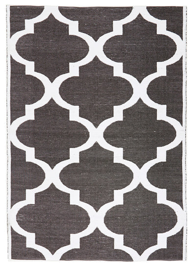 Coastal Indoor Out door Rug Trellis Black White - Fantastic Rugs