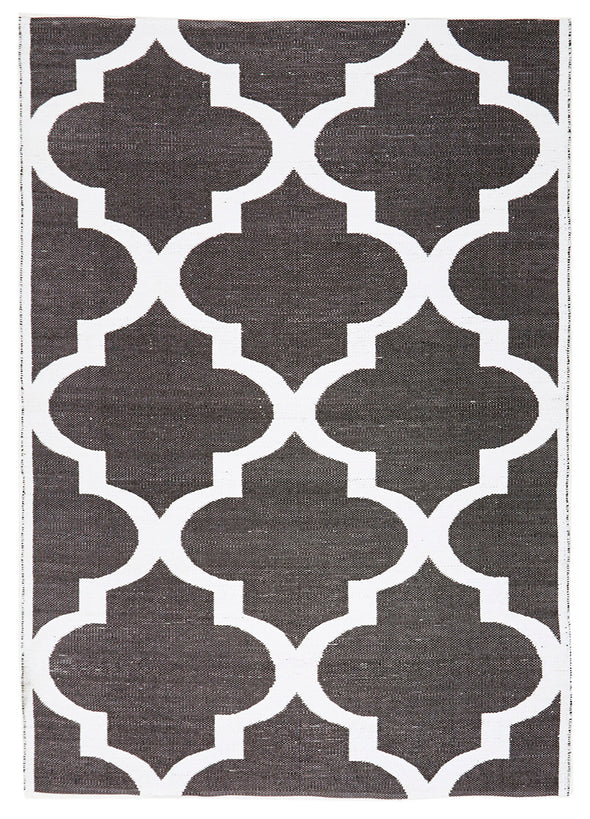 Coastal Indoor Out door Rug Trellis Black White