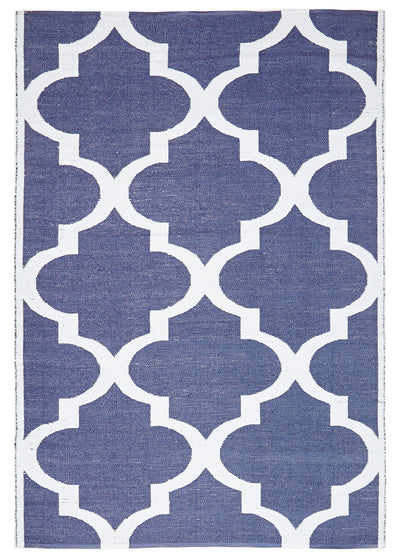 Coastal Indoor Out door Rug Trellis Navy White - Fantastic Rugs