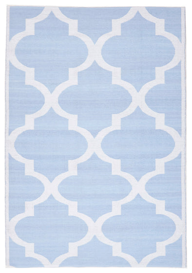 Coastal Indoor Out door Rug Trellis Sky Blue White - Fantastic Rugs