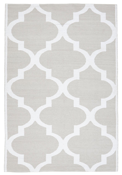 Coastal Indoor Out door Rug Trellis Taupe White - Fantastic Rugs
