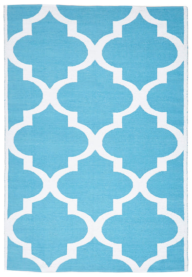 Coastal Indoor Out door Rug Trellis Turquoise White - Fantastic Rugs