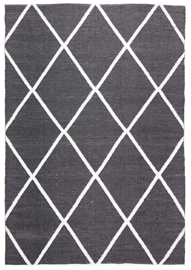 Coastal Indoor Out door Rug Diamond Black White - Fantastic Rugs
