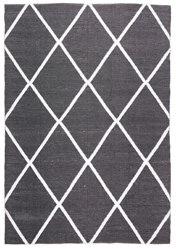 Coastal Indoor Out door Rug Diamond Black White
