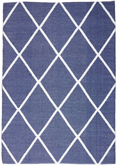 Coastal Indoor Out door Rug Diamond Navy White - Fantastic Rugs