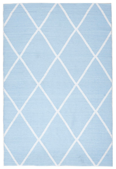 Coastal Indoor Out door Rug Diamond Sky Blue White - Fantastic Rugs