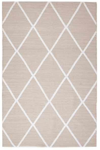 Coastal Indoor Out door Rug Diamond Taupe White - Fantastic Rugs