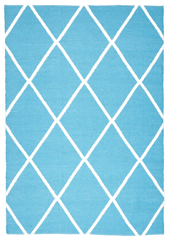 Coastal Indoor Out door Rug Diamond Turquoise White - Fantastic Rugs