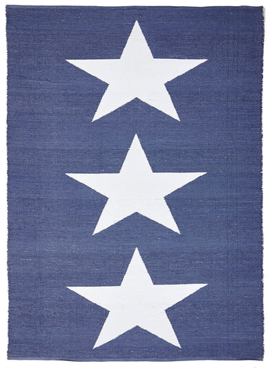 Coastal Indoor Out door Rug Star Navy White