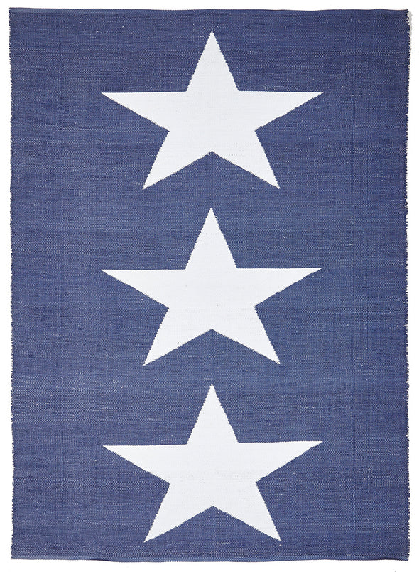 Coastal Indoor Out door Rug Star Navy White - Fantastic Rugs