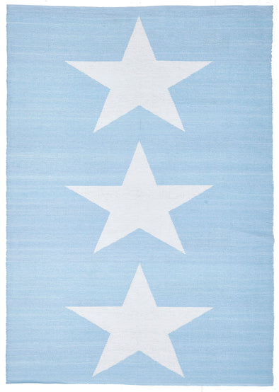 Coastal Indoor Out door Rug Star Sky Blue White - Fantastic Rugs