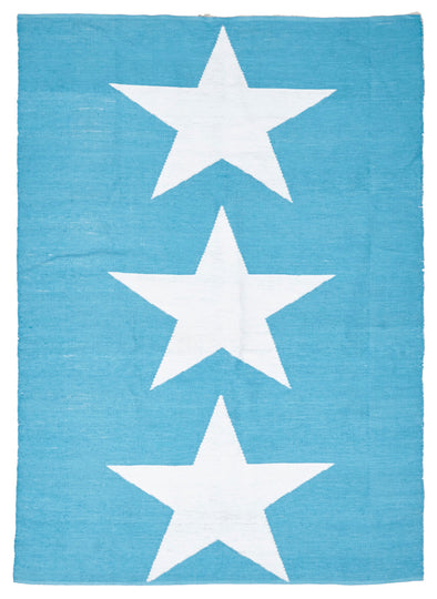 Coastal Indoor Out door Rug Star Turquoise White - Fantastic Rugs
