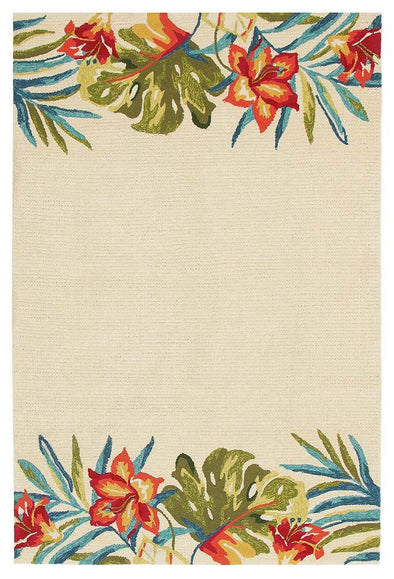Anna Floral Indoor Outdoor Rug Cream - Fantastic Rugs