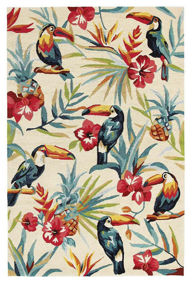 Toucan Tropical Indoor Outdoor Rug Cream - Fantastic Rugs
