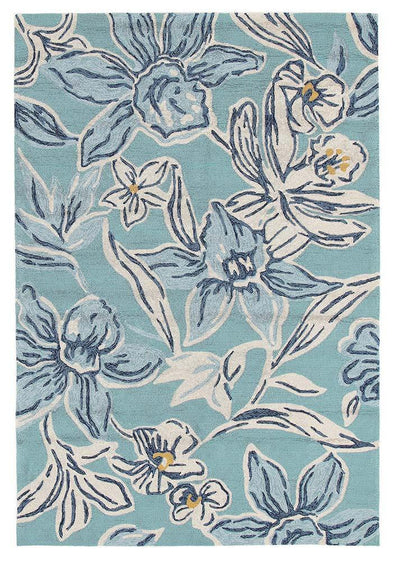 Whimsical Blue Floral Indoor Outdoor Rug - Fantastic Rugs