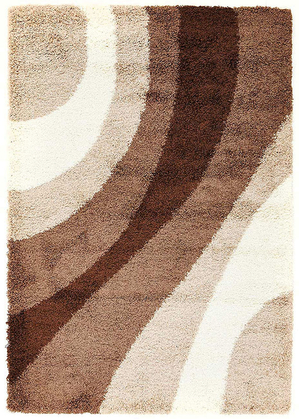Soft Dense Retro Cream, Beige, Brown Shag Rug - Fantastic Rugs