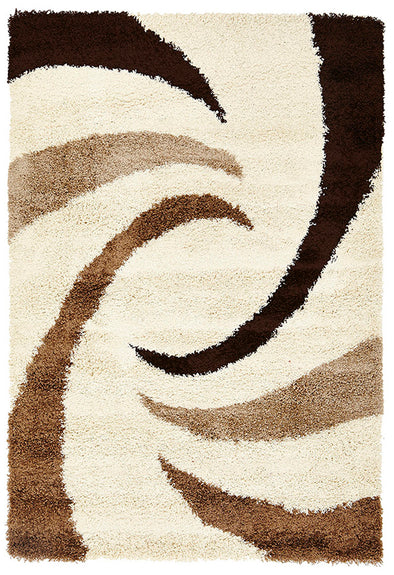 Soft Dense Beige, Brown Cream Swirl Design Rug - Fantastic Rugs
