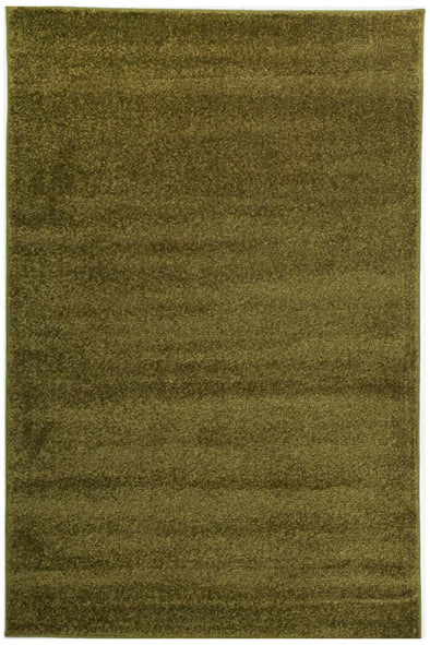 Dense Plain Moss Coloured Rug - Fantastic Rugs