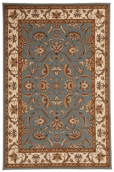 Stunning Formal Floral Design Rug Blue