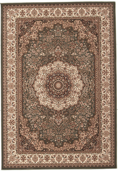 Stunning Formal Medallion Design Rug Green
