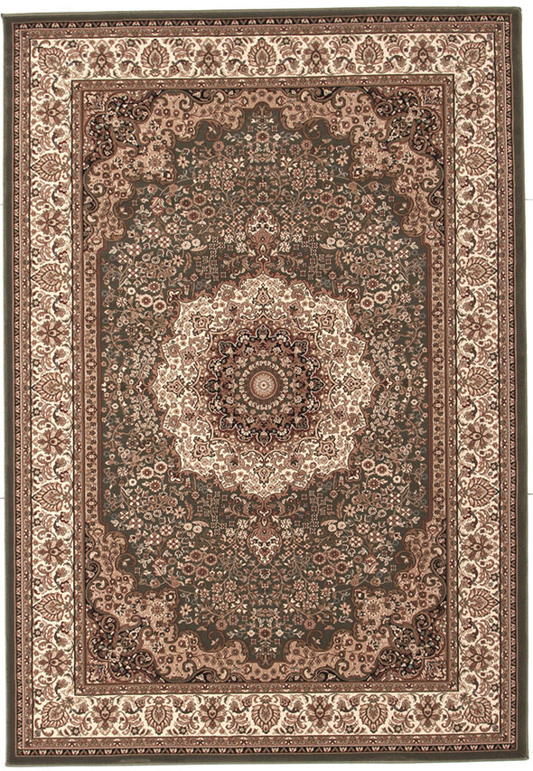 Stunning Formal Medallion Design Rug Green - Fantastic Rugs