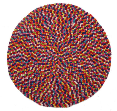 Felted Wool Unique Textured Ball Design Round Multi - Fantastic Rugs