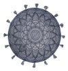 Blueberry Cotton Printed Braided Round Blue Rug