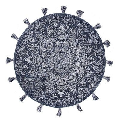 Blueberry Cotton Printed Braided Round Blue Rug - Fantastic Rugs