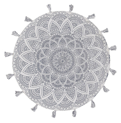 Snowflake Cotton Printed Braided Round White Rug