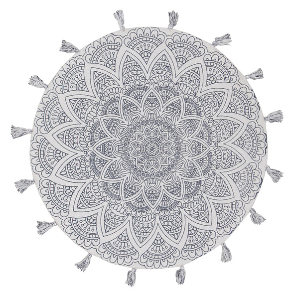 Snowflake Cotton Printed Braided Round White Rug - Fantastic Rugs