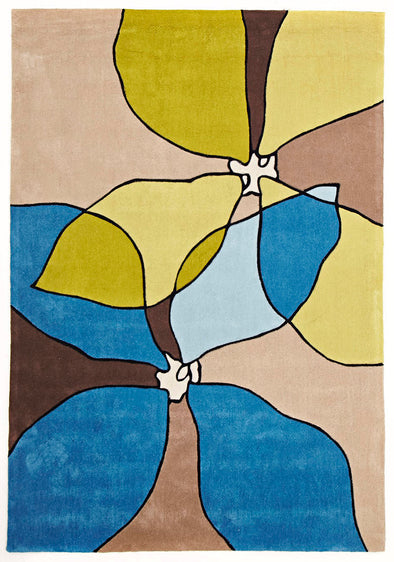 Modern Flower Rug Blue, Beige, Green