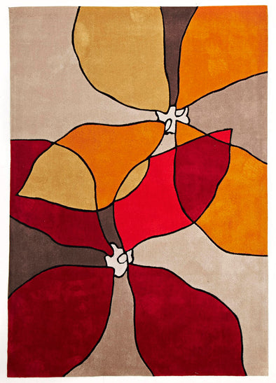 Organic Flower Design Rug Red, Beige, Rust