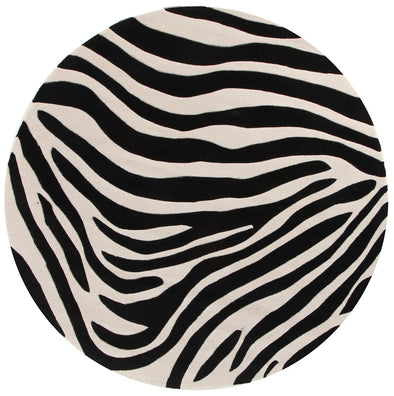 Zebra Deluxe Black And White Rug