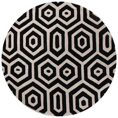 Honey Comb Black Off White Rug