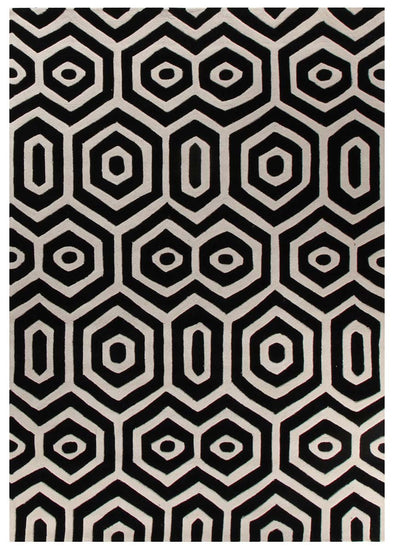 Honey Comb Black Off White Rug - Fantastic Rugs