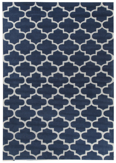 Lattice Navy Rug - Fantastic Rugs