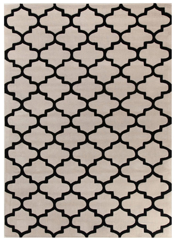 Lattice Off White And Black Rug - Fantastic Rugs