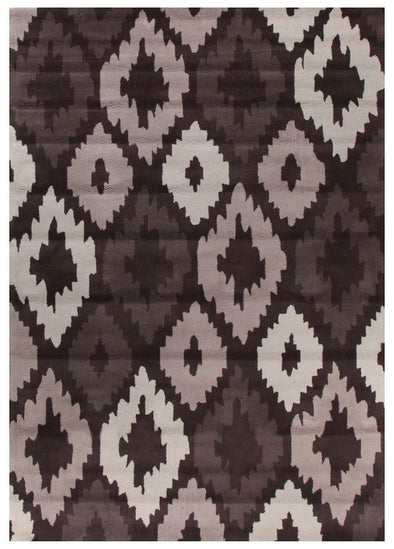 Ikat Diamonds Brown Beige Rug - Fantastic Rugs