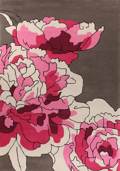 Blossoms Taupe Pink Rug - Fantastic Rugs