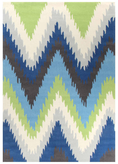 Ikat Chevron Blue Green Rug - Fantastic Rugs