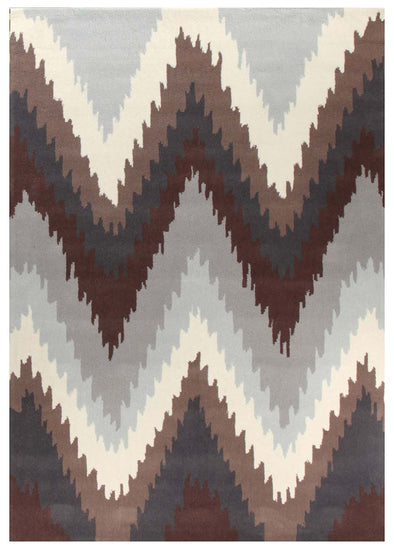 Ikat Chevron Beige Brown Rug - Fantastic Rugs