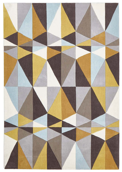Yellow and Sky Blue Crystal Design Rug - Fantastic Rugs