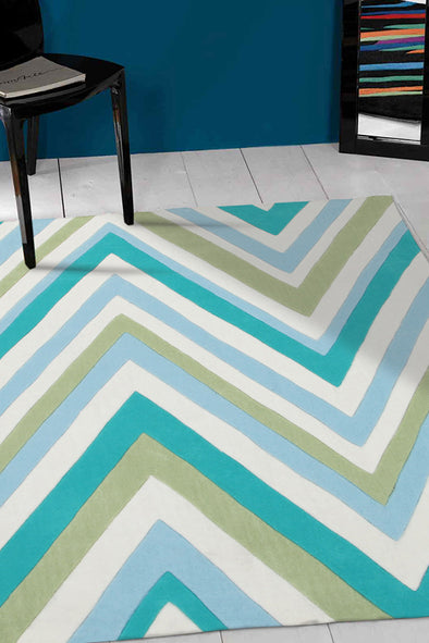 Multi Chevron Rug Light Blue Green - Fantastic Rugs