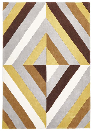 Yellow Brown Grey Crystal Prism Rug - Fantastic Rugs