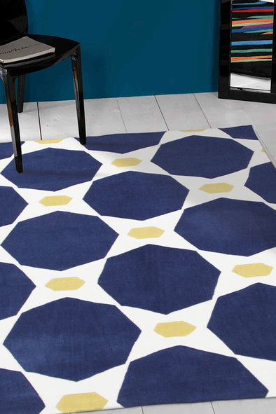 Navy and Yellow Hive Rug - Fantastic Rugs