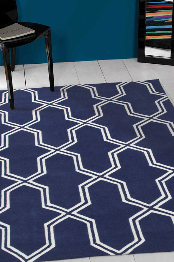 Neo Lattice Design Rug Navy - Fantastic Rugs